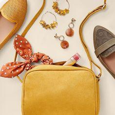 Mustard Accessories, Flatlay Styling, Michael Kors Jet Set, Rust, Autumn, Bags, Instagram, Style, Ideas