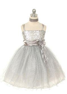 Silver Sequin Overlay Girl Dress