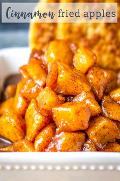 These cinnamon fried apples will melt in your mouth! Softened apples in a butter, sugar and cinnamon mixture. A delicious side dish or dessert recipe. Crockpot Fried Apples, Fried Apples Recipe Easy, Apple Recipes Easy, Apple Dessert Recipes, Cooked Apples, Fruit Recipes, Side Dish Recipes, Gourmet Recipes, Crockpot Recipes