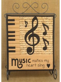 """Make your heart sing with happiness with this wall hanging!   Easy piecing, applique and a bit of embroidery make this little quilt a snap to put together. The fat quarter friendly quilt is great for any music lover in your life! It will fit on any 12"""" quilt stand so you can display it with pride. Finished size of the quilt is 12"""" x 14""""."""