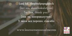 Armenian flashcard. I'm fine, thank you in Eastern Armenian.