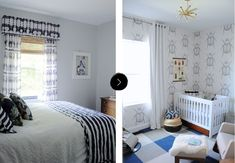The Previous Guest Room Became Baby Otto's New Room On Design*Sponge Jungle Nursery, New Room, Designer Wallpaper, Guest Room, Toddler Bed, Childhood, Inspired, Kids, Baby