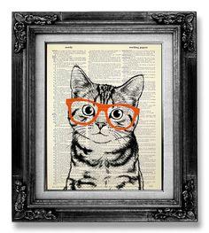 DECORATIVE ART, Cat Art Wall Hanging, CAT Print, Cat Poster Art Print, Book Page Art, Nerdy Poster, Cool Cat Artwork, Tabby Cat Nerd Glasses...