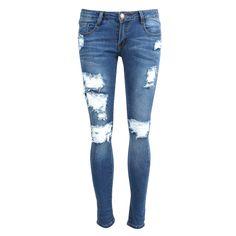 Destroyed Medium Washed Skinny Jeans - Blue Jeans - Denim – Bottoms – 2020AVE