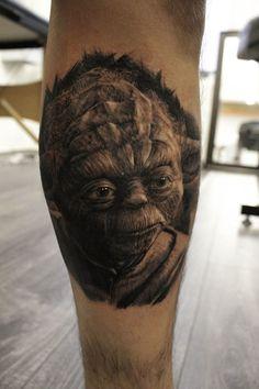 Yoda tattoo by Ash Higham at Rapture Tattoo studio.