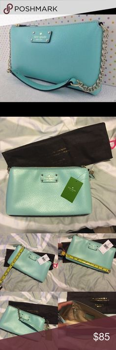 """NWT Kate Spade Wellesley in Robinsegg. Never used. ✨This is a super chic little bag, big enough to carry all the essentials. Comes with dust bag. The color is """"Robins Egg Blue"""" but I call it Tiffany Blue. One interior zip pocket plus two additional interior pockets. All offers considered! kate spade Bags Shoulder Bags"""