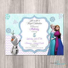 Frozen Birthday Invitation Frozen Birthday Party Invitation Frozen