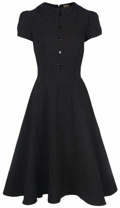 Lindy Bop Rhonda Vintage Victorian Style Black Polka Dot Peter Pan Collar Tea Dress