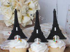 Paris Glitter Eiffel Tower Birthday Party Sweet 16 Cupcake Toppers, Paris Theme, Parisian Theme, Paris Eiffel Cupcake Toppers