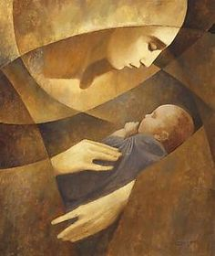 Mother & Child (yellow) created by J. Kirk Richards.  Giclee print is is printed on fine art paper. On Artful Home.