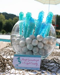 Pearl gumdrops and coral candy - perfect for a mermaid party or a beach wedding!