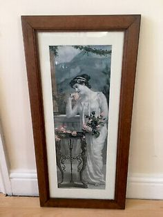 Old Print Lady Balcony Mountain Art Print Picture Solid Oak Frame 26 X 12 Inches | eBay