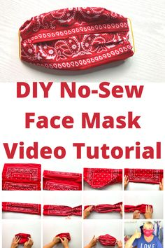 Easy No-Sew DIY Face Mask with Bandana and Elastic Bands Video Tutorial — KRISTIN OMDAHL - The Effective Pictures We Offer You About diy clothes A quality picture can tell you many things. Easy Face Masks, Homemade Face Masks, Face Mask Diy, Facemask Homemade, Mascarilla Diy, Pin On, Diy Couture, Sewing Hacks, Sewing Diy