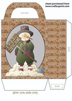 Free snow snowman gift bag on Craftsuprint designed by Stephen Poore -