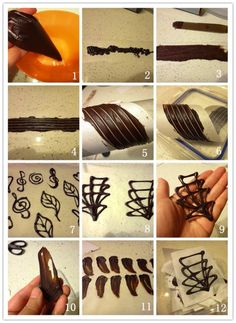 Chocolate decoration for desserts and pastries- Schokoladendeko für Desserts und Feingebäck Chocolate decoration for desserts and pastries - Chocolate Work, Chocolate Flowers, Chocolate Molds, Melting Chocolate, Chocolate Recipes, Cake Decorating Techniques, Cake Decorating Tips, Cookie Decorating, Decoration Patisserie