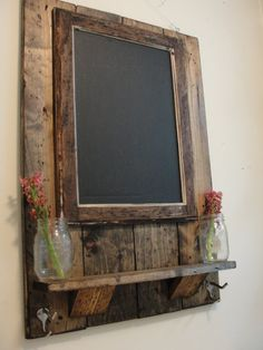 Framed Magnetic Chalkboard with Shelf and Coat/Key/Hat Hooks....looks easy enough with reclaimed slat wood and a bit of stain