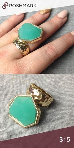 Mint and Gold statement ring Gorgeous ring from Style Mint, no longer available - size 6 Jewelmint Jewelry Rings