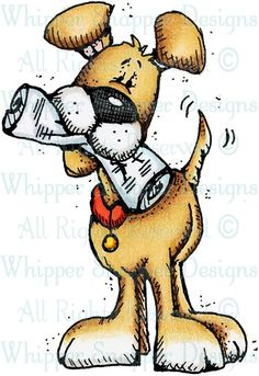 Good News Puppy - Dogs - Animals - Rubber Stamps - Shop Fabric Painting, Painting & Drawing, Watercolor Cards, Animal Drawings, Dog Drawings, New Puppy, Mail Art, Dog Art, Cute Art