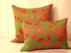 Fire red leaves lumbar – Olive green 14x20 pillow cover