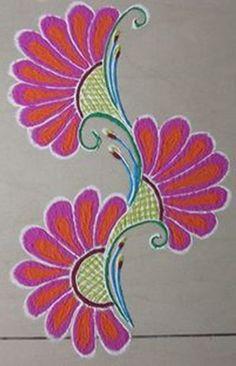 Browse Simple Rangoli Designs for diwali. Simple Flower Rangoli, Rangoli Designs Flower, Small Rangoli Design, Rangoli Border Designs, Colorful Rangoli Designs, Rangoli Designs Diwali, Diwali Rangoli, Rangoli Designs Images, Beautiful Rangoli Designs