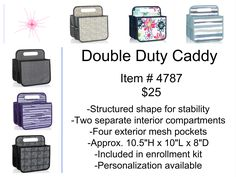 Why you'll love it: Whoever said you can't take it with you didn't know about the Double Duty Caddy. Picnic utensils, condiments, art supplies, cleaning supplies, baby needs, cosmetics and lots more are easily transported in this sturdy, structured carrier. With 2 separate interior compartments and 4 exterior mesh pockets, there's plenty of room to take whatever you need with you when you're on the go. Not going anywhere for awhile? Keep it on the kitchen table, counter or in the cupboard to…