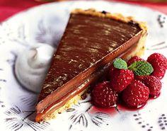 Chocolate-Caramel Tart with Drunken Raspberries and Vanilla Crème Fraîche Recipe at Epicurious.com