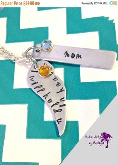 """Hand Stamped """"I will hold you in heaven""""  Necklace Wing Charm Birthstone Hand Stamped Necklace Stamped Pendant Personalized Necklace"""