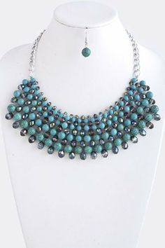 """Turquoise Bead And Jewel Silver Chain Link Statement Necklace - Stone And Bead Drape Necklace StarShine Jewelry. $22.10. Lobster claw clasp with 3"""" extender. Length approx 18"""". Center piece 8""""L x 2.4""""W. Lead compliant. Stone and bead necklace"""