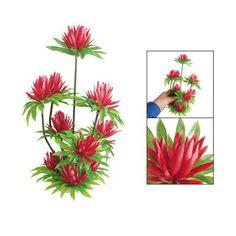 Red Simulated Water Lily Lotus Plastic Plant Ornament for Fish Tank Aquarium CP    eBay