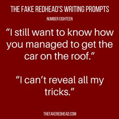Sign Up For The Newsletter A complete library of the original writing prompts written by The Fake Redhead Click To Claim The Free eBook feat. TFR's Most Popular Prompts   Click To Claim …