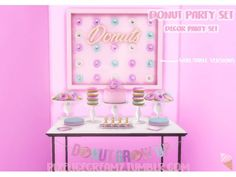 The Sims 4 Donut Party Set by pixelicecreamz Sims 4 Cas, My Sims, Sims Cc, Party Set, Donut Party, Donut Decorations, Birthday Party Decorations, Sims 4 Kitchen, Bakery Decor