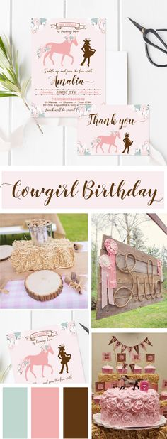 Beautiful cowgirl birthday invitation & birthday cards with matching thank you card for girl! Featuring pink color, flowers, floral design, cowgirl with boots, horse, calligraphy font and rustic & vintage look! Find this design on Etsy as digital printable file: https://www.etsy.com/listing/558053301/floral-cowgirl-birthday-invitation