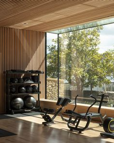 Image 22 of 42 from gallery of Room in a Productive Garden / Invisible Studio. Photograph by James Stephenson Gym Room At Home, Home Gym Decor, Home Gym Design, House Design, Dream Home Gym, Luxury Gym, Home Gym Garage, Workout Room Home, Gym Interior