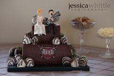 @Charlotte Walden's troy university grooms cake with tuba player made of fondant