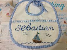Cross Stitch / babero / baby / boat / barco / marino / marine / name / sebastian