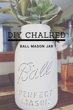 DIY Chalk Painted Ball Mason Jar Simple Cheap How To Modern Farmhouse Distressed