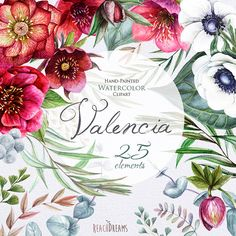 Wedding Watercolor Flowers Clipart, Helleborus Flowers, Anemone, Eucalyptus, Hand painted, floral invitations, greeting card, PNG files