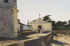 """Afternoon Shadows, Portugal,"" Ogden M. Pleissner, watercolor with gouache on paper, 7 x 10"", private collection."