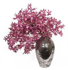 Purple Dancing Oncidium Orchids in Metallic Silver Ceramic Vase