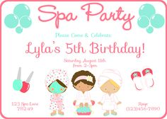 Endearing Spa Bachelorette Party Invitations and spa slumber party invitations