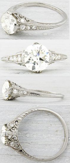 Erstwhile Jewelry Co., antique engagement rings, diamond rings, Art Deco, Edwardian, Belle Epoque, bride, bridal, wedding, princess, platinu...