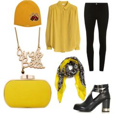 """Felis Navidad"" by workingincloset on Polyvore #style #Yellow #outfit #fashion #look #black #blackandyellow"