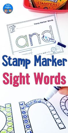 Pre primer sight word practice with printable worksheets sized just right for stamp markers. Name Activities, Sight Word Activities, Reading Activities, Kindergarten Activities, Preschool Printables, Printable Worksheets, Teaching Sight Words, Sight Word Practice, Sight Word Games