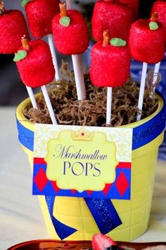 Red apple marshmallow pops at a Snow White birthday party! See more party ideas at CatchMyParty.com!