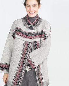 Image 2 of ETHNIC PRINT COAT from Zara Sweater Coats, Sweaters, Cardigans, Langer Mantel, Ethnic Print, Long Jackets, Fall Looks, Zara Women, Pulls