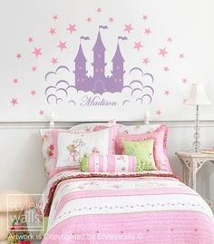 Fairy Princess Castle Personalized Vinyl Wall Decal by styleywalls