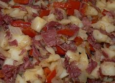 A simple corned beef hash. See the ingredients and recipe: http://www.tastygalaxy.com/cook/how-to-make-hash-corned-beef-hash-recipe/