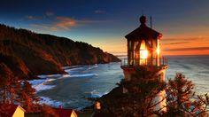 Glowing Lighthouse Red Oregon Sea Coast Sunset Landscape Glow Desktop Background Images