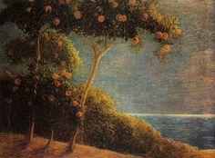 Gaetano Previati, Sunset in Liguria Paul Celan, Painting & Drawing, Modern Art, Fine Art, Sunset, Landscape, Drawings, Instagram, Visual Arts