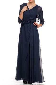 V neck mother of the bride evening long dress with tank straps with flowers on waist with chiffon bolero